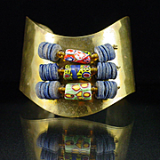 Unique Large Copper Cuff Bracelet with Wired Venetian Glass Trade Beads