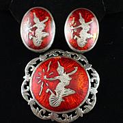 Vintage Siam Sterling Red Enamel Niello Dancers Pendant and Earrings