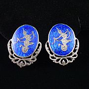 Beautiful Siam Sterling Cobalt Blue Enamel Niello Dancers Earrings