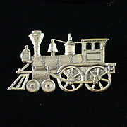 Unique Early Sterling Steam Engine Locomotive Train Brooch
