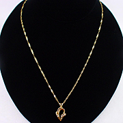 "Estate 14k 18"" Chain with 14k Diamond Pendant"