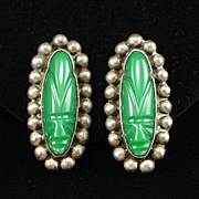 Early Mexican Sterling Carved Green Onyx Mask Screw Back Earrings