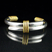 Unique Large Bold Taxco Sterling Bangle Cuff Bracelet