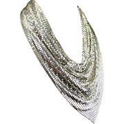 Fabulous Large Whiting & Davis Silver Mesh Runway Statement Necklace