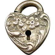 Victorian Sterling Repousse Floral Puffy Heart Padlock Heart Charm