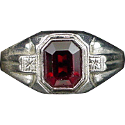 Art Deco Uncas Sterling Ruby Glass Ring Size 10