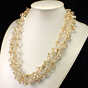 Unusual Large Bold Triple Strand Clear Quartz Wrap Necklace