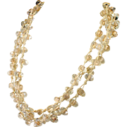 Unusual Large Bold Triple Strand Clear Quartz Wrap Necklace