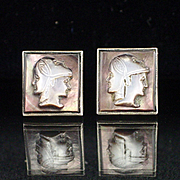 Art Deco Sterling Carved Shell 3 Faces Cameo Cufflinks