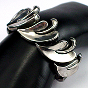 Early Signed Antonio Pineda 970 Silver Heavy Leaf Design Link Bracelet