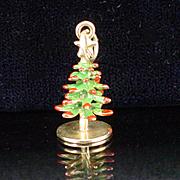 14k  Enameled Dimensional Christmas Tree Charm