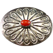 Vintage Navajo Signed LS Sterling Coral Concho Brooch Pin