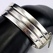 Modernist European Sterling Hinged Cuff Bracelet