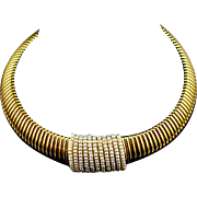 Large Bold Signed Napier Expansion Gold Tone Runway Necklace