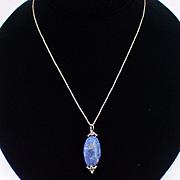 Beautiful Feminine Italian Sterling Lapis Pendant Necklace