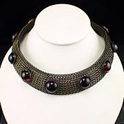 Unique Modernist Bronze Wirework Amber Glass Cabochon Statement Necklace