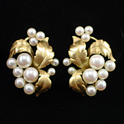 14k Yellow Gold Cultured Pearl Cluster Clip Back Earrings