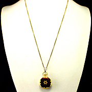 Beautiful Andre Rivalle Enamel Pendant Watch on Gold Filled Chain