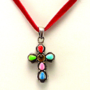 Estate Sterling Multi Gem Stone Cross on Cord Chain