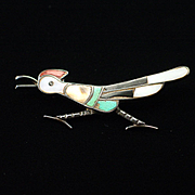 Vintage Signed EE  Zuni Sterling Roadrunner Brooch Pin with Inlay Turquoise Onyx Coral and MOP