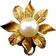 Unique Estate 14k Scarf or Dress Clip with 8mm Cultured Pearl