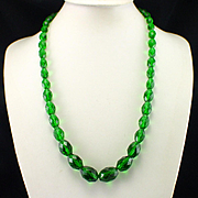 Large Retro Graduated Emerald Green Glass Crystal Necklace with Sterling Clasp