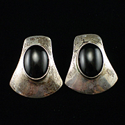 Vintage Estate Large Sterling Onyx Post Back Earrings