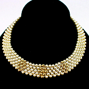 Classy Vintage Napier Woven Bead and Faux Pearl Choker Necklace