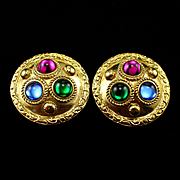 Vintage Signed Sphinx Ornate Jeweled Clip Back Earrings