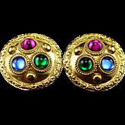 Vintage Signed Sphinx Ornate Jeweled Clip Back Earrings