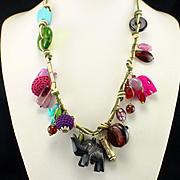 Unique Retro Large Caved Elephants and Glass Beads Charm Necklace