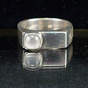 Large Heavy Modernist Sterling Moonstone Ring Size 9