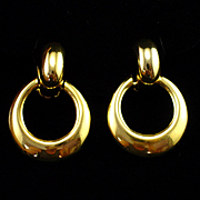 Large Bold Signed Sphinx Door Knocker Earrings