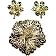 1930 Mexico Silver Filigree Brooch and Earrings