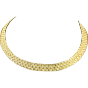 Beautiful Signed Monet Wide Woven Designed Collar Necklace