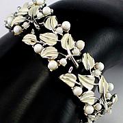 Coro Cream Enamel Leaf & Berry Bracelet