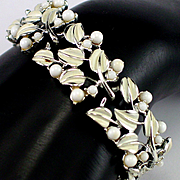 Coro Cream Enamel Leaf & Berry Bracelet