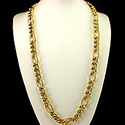 Large Bold Signed Monet Interlocking Hoop Chain Necklace
