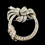 Beautiful Glitzy Signed Bogoff Rhinestone Wreath Brooch Pin