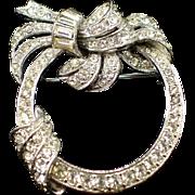 Beautiful Glitzy Signed Bogoff Rhinestone Wreath Brooch Pin