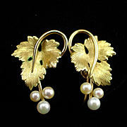 Beautiful Signed Krementz Gold Filled Cultured Pearls Screw Back Earrings