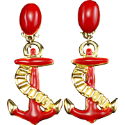 Long Red Enamel Anchor Clip Back Statement Earrings