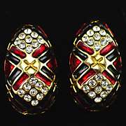 Large Vintage Rhinestone and Enamel Clip Back Earrings