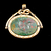 Victorian Double Sided Bloodstone Intaglio Cameo Fob or Pendant