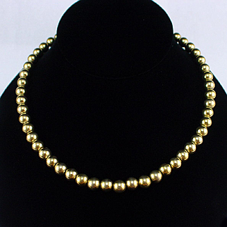 "Signed Napier 16"" Chain Strung Gold Bead Necklace"