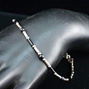 "Estate Sterling Onyx Tube Link 9"" Bracelet"