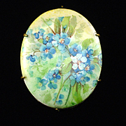 Beautiful Art Deco Handpainted Porcelain Floral Brooch Pin