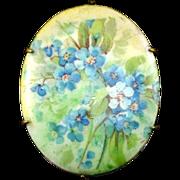 Beautiful Art Deco Handpainted Porcelain Floral Brooch Pin