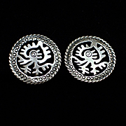 Unique Early Taxco Sterling Aztec Motif Screw Back Earrings