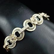 Unique Deco Silver Filigree Floral Cannetille Bracelet